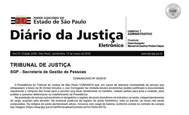 Tribunal de Justiça regulamenta prestação de serviço extraordinário